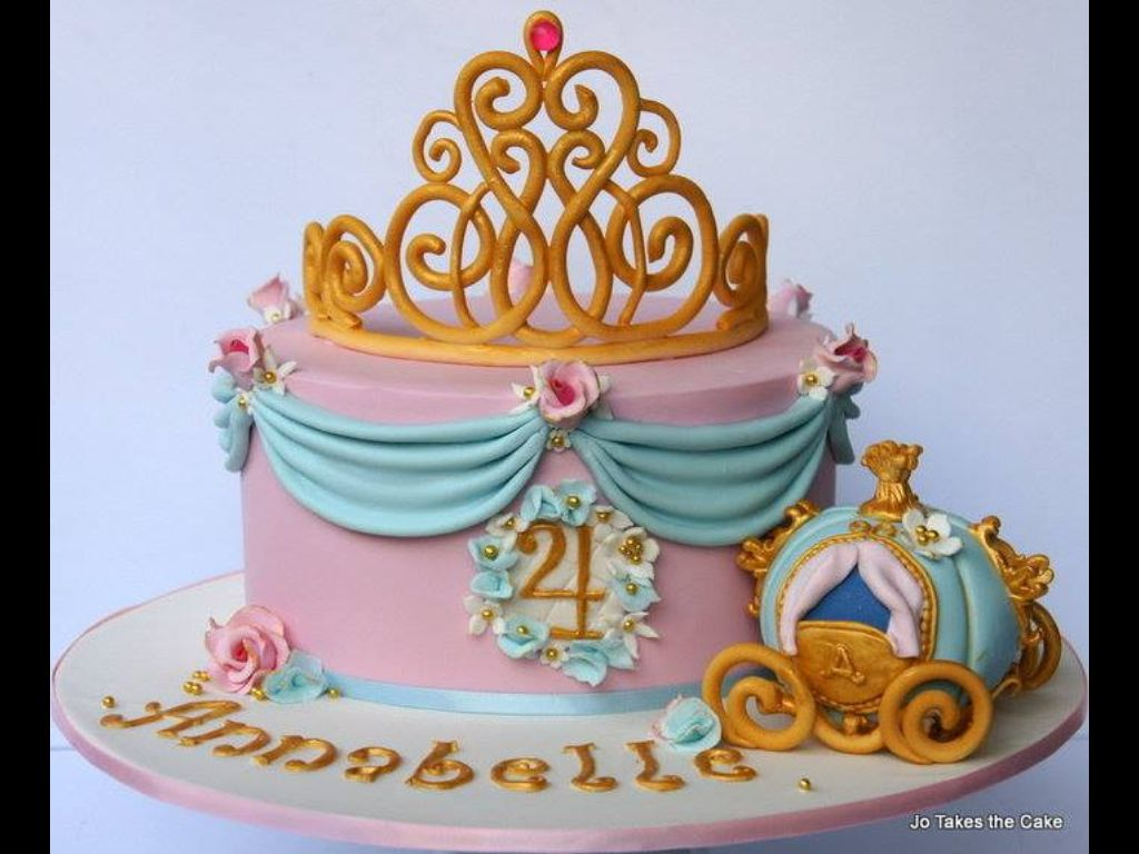 Beautiful Single Tier Cake Cinderella Cake Birthday Cake Kids Cake