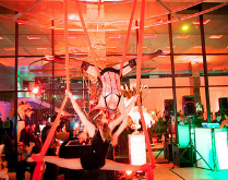 Aerial silk artists at The GlassHouse in San Jose