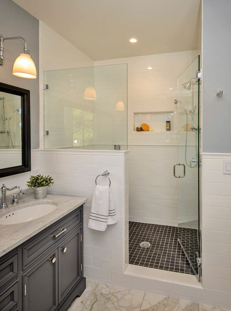 How To Build A Half Wall Shower Bathroom Traditional With Glass