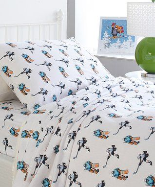 nate u0026 nat hockey sports boys 3piece twin sheet set 100 cotton flannel