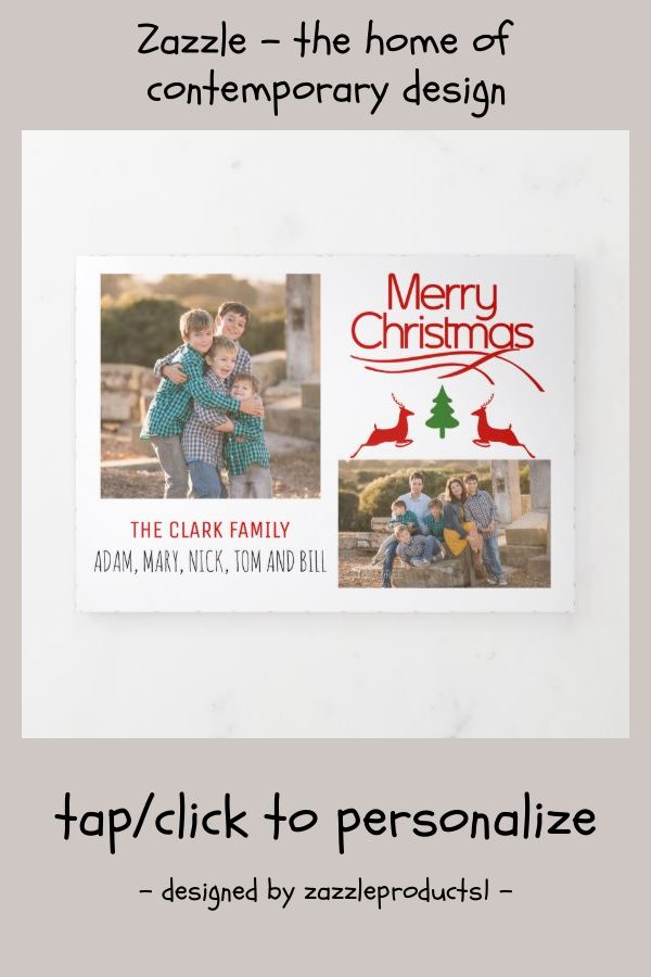 Red Merry Christmas Deer Tree Pattern Photo Tri Fold Holiday Card Zazzle Com Folded Holiday Cards Christmas Photo Card Template Merry Christmas Card Photo
