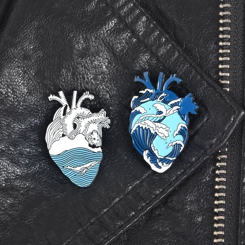 Great Ocean Wave Heart Enamel Pin Blue Sea Whale Human Heart Lapel Pins Badges Jewelry