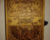 Pyrograhed wooden book shaped box in the style of the Hobbit book lockable with a key