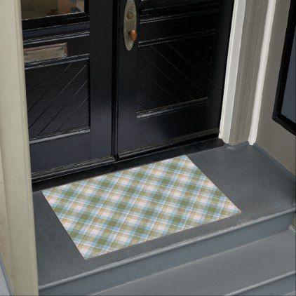 Baby Blue Olive Green Retro Tartan Plaid Pattern Doormat | Zazzle.com #sunflowerchristmastree