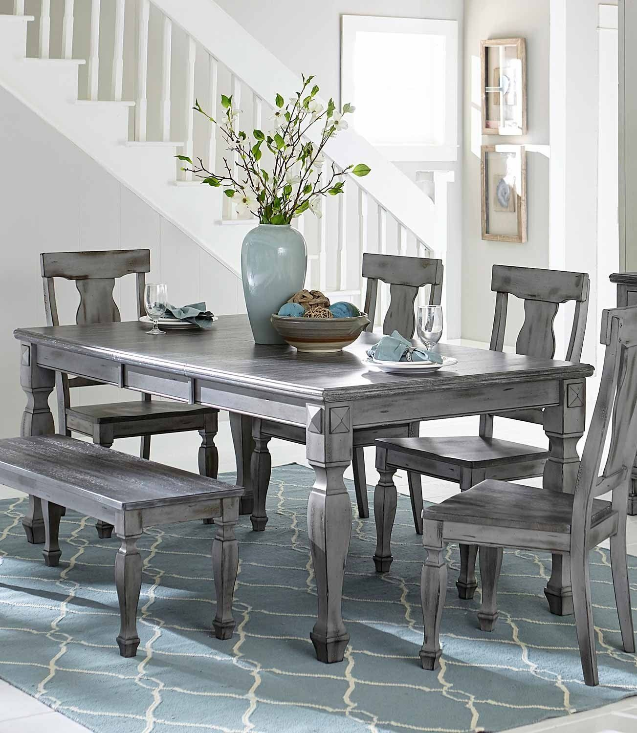 Fulbright Country Gray Rub Through Finish Dining Table Solid Wood Top Grey Dining Tables Wood Dining Table Grey