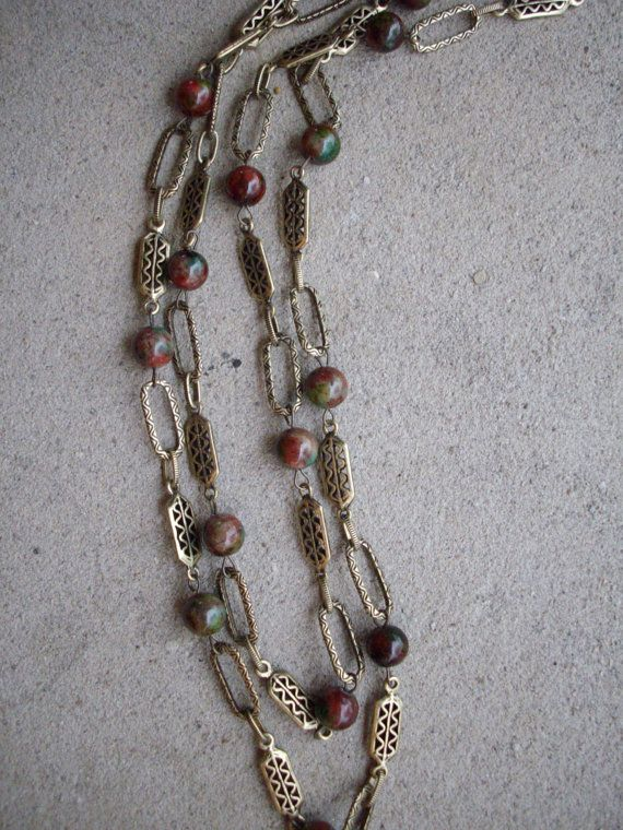 Burgandy Red and Green Jade Bead Single Strand Necklace with Antique Brass Vintage Connectors