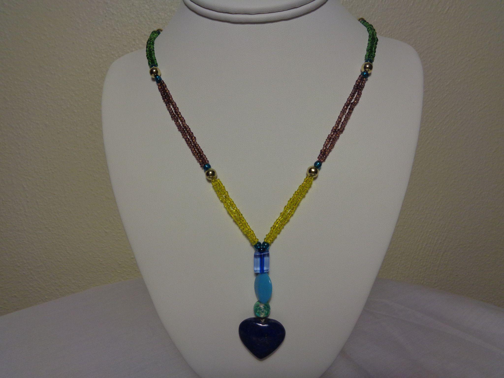 Beads Multi-color Lapis Lazuli Heart Shaped Pendant Necklace