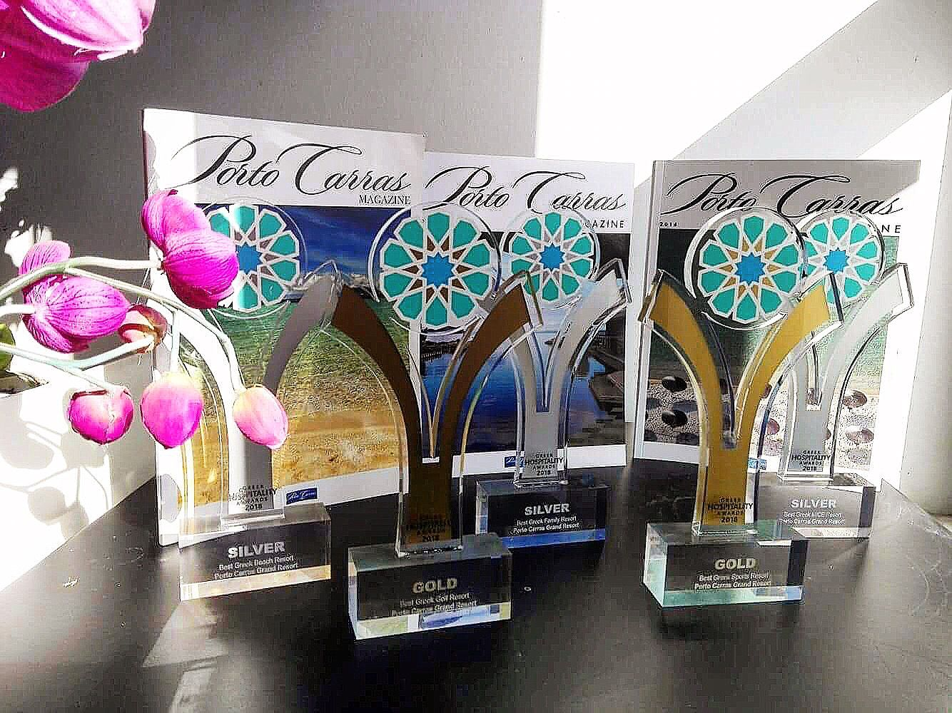 We are so proud to announce that we #won five awards for @Porto Carras Grand Resort in the #Greek HospitalityAwards2018, in the categories: «Best Greek Golf Resort  (Gold)», « Best Greek Sports Resort (Gold)»,  «Best Greek Beach Resort (Silver)» , « Best Greek Family Resort (Silver)», and  « Best Greek MICE Resort (Silver)» #Congrats to all of you for your selfless dedication! #PortoCarras #gold #silver #GreekHospitalityAwards #GHA18 #Winners #awards #GreekHopitality #tourism #SoProud