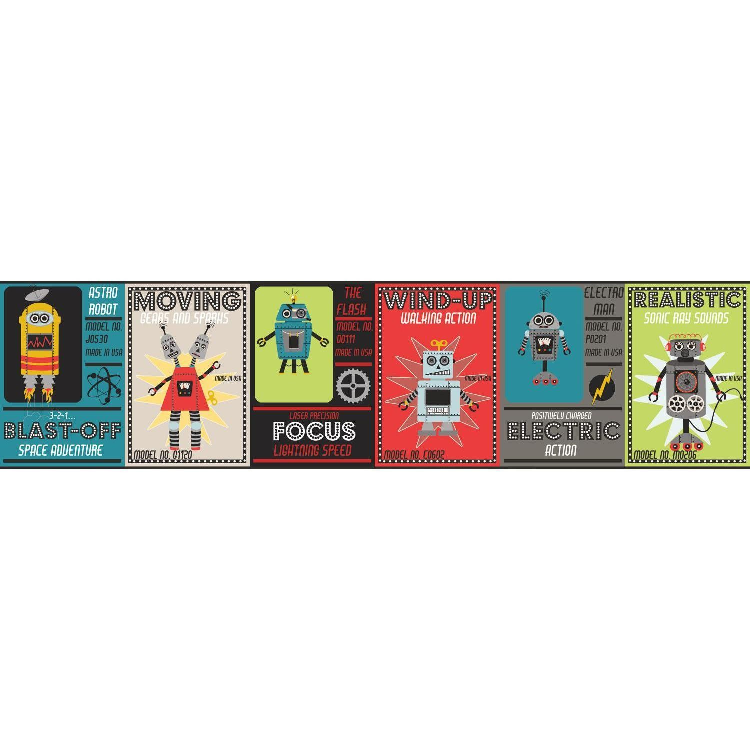 "Waverly Kids Robotic 15 x 9"" Border Wallpaper Pinterest"