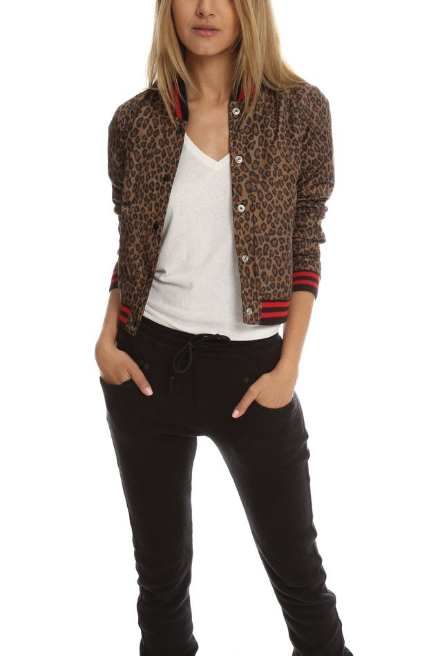 R13 Leopard Shrunken Roadie Bomber | Blue&Cream | summer clothing ...