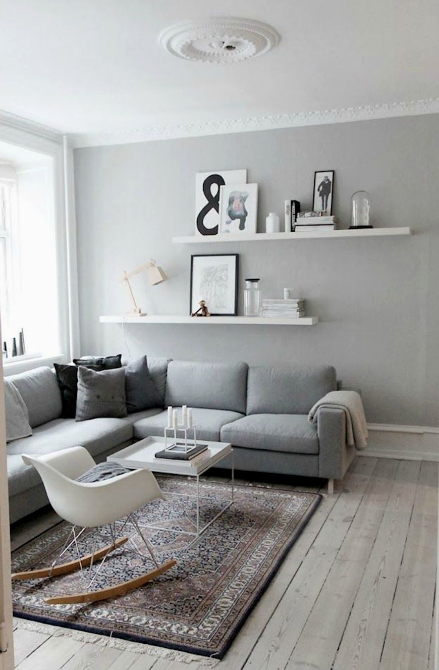 Living room decor ideas grey walls gray walls white floating shelves grey sofa interior decoration