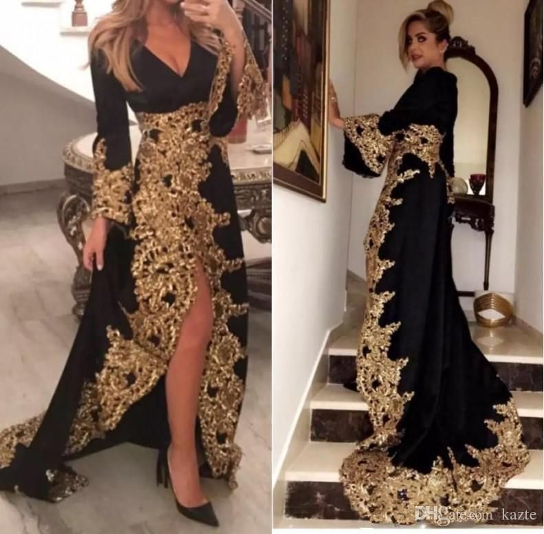 db6fe2b28d9 Black Lace Appliques Muslim Evening Dresses With Long Sleeves 2019 Gold  Embrodiery Formal Evening Gowns High