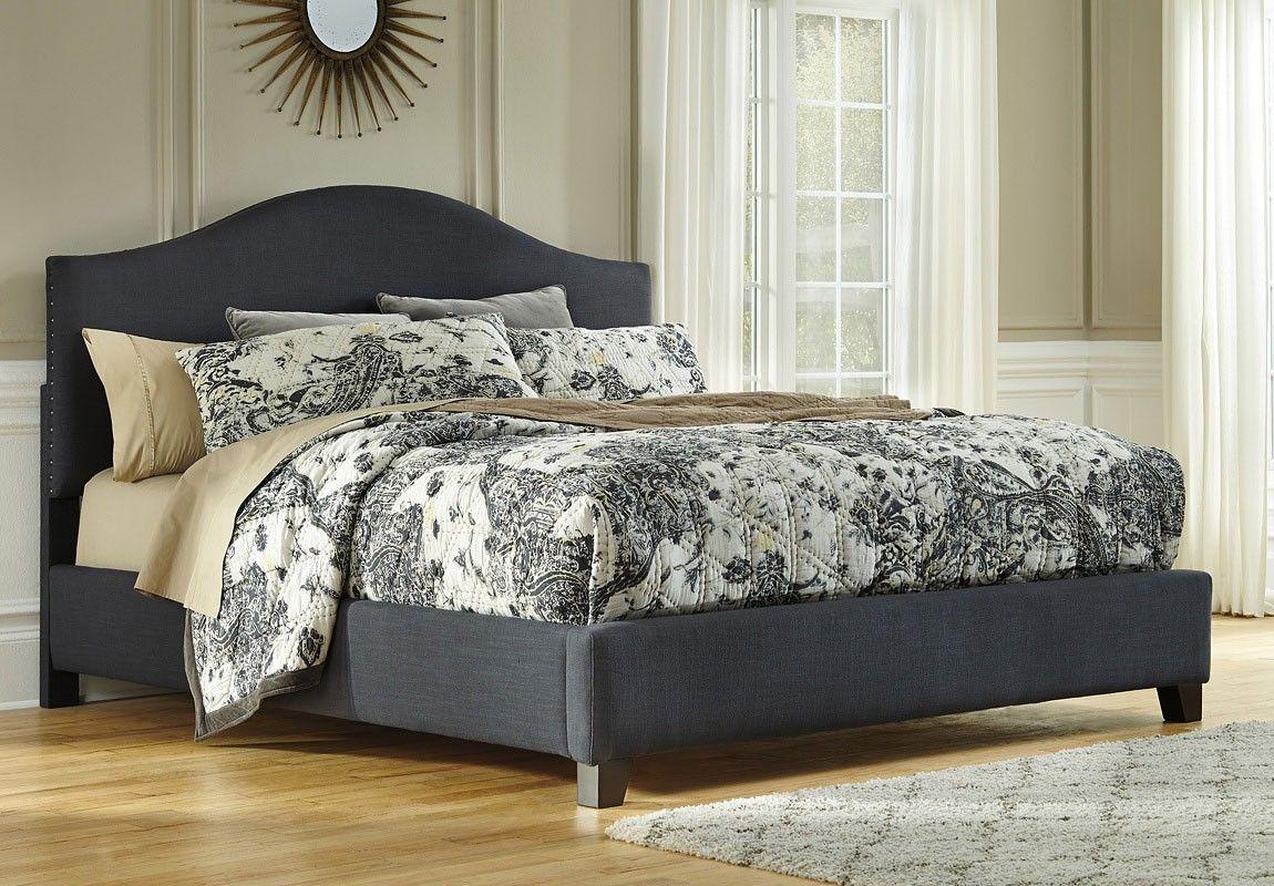 Kasidon Dark Gray Upholstered Bed Upholstered Beds Grey Upholstered Bed Upholstered Bed Frame