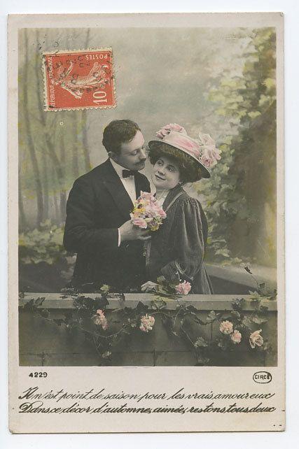 Edwardian Lady Love Romance Flirt Couple Original Vintage