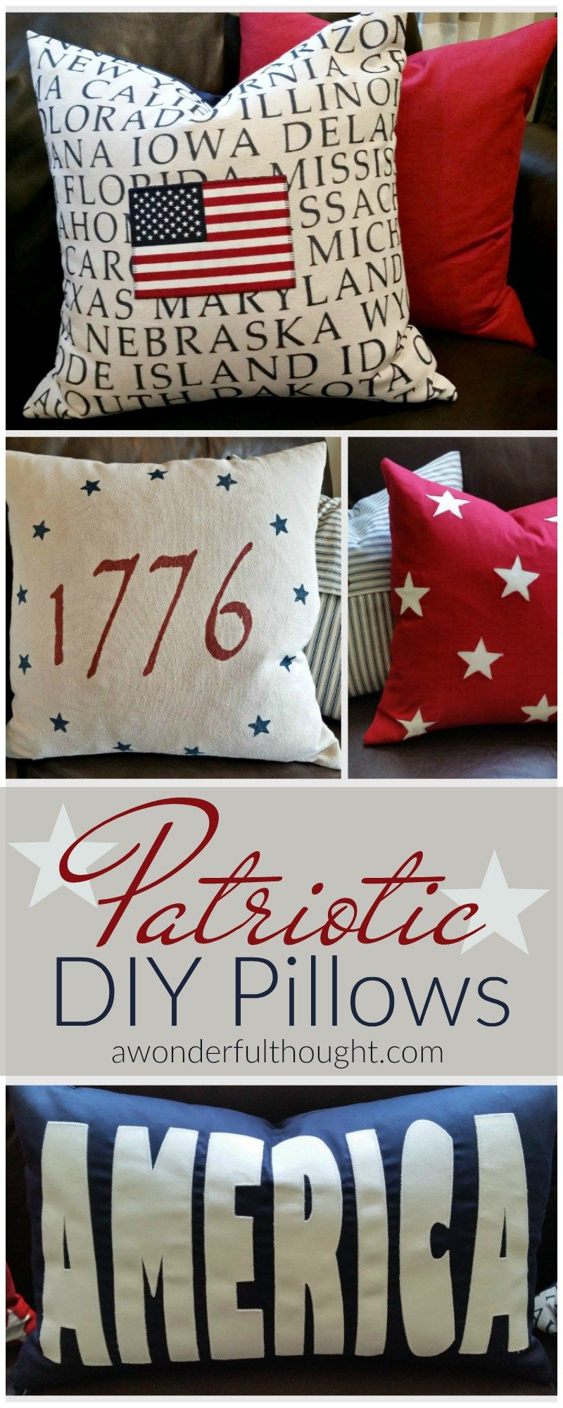 Love these DIY patriotic pillows Tutorials for