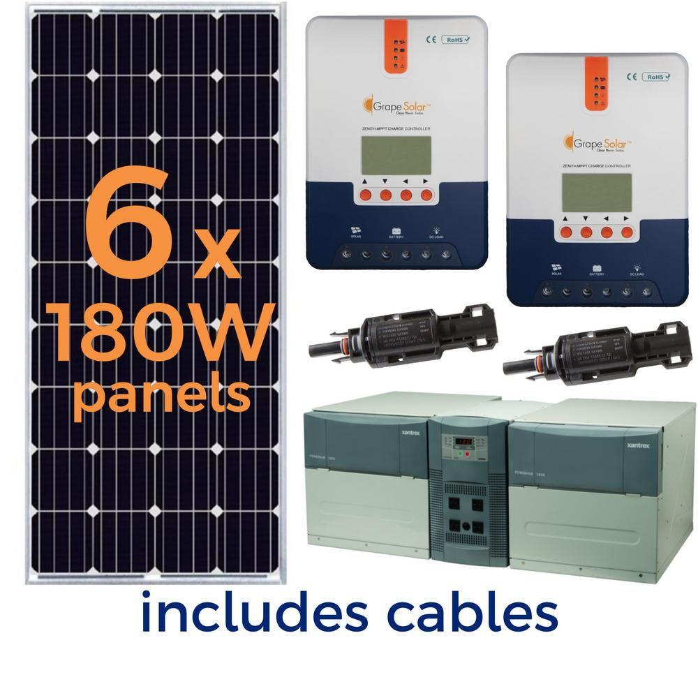 Grape Solar 1 080 Watt Off Grid Solar Generator Kit Solar Generator Solar Energy Solar Panels