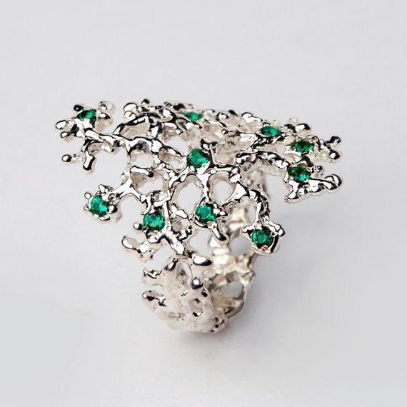 SEA SPRAY Sterling Silver Emerald Ring Gemstone Ring by AroshaTaglia