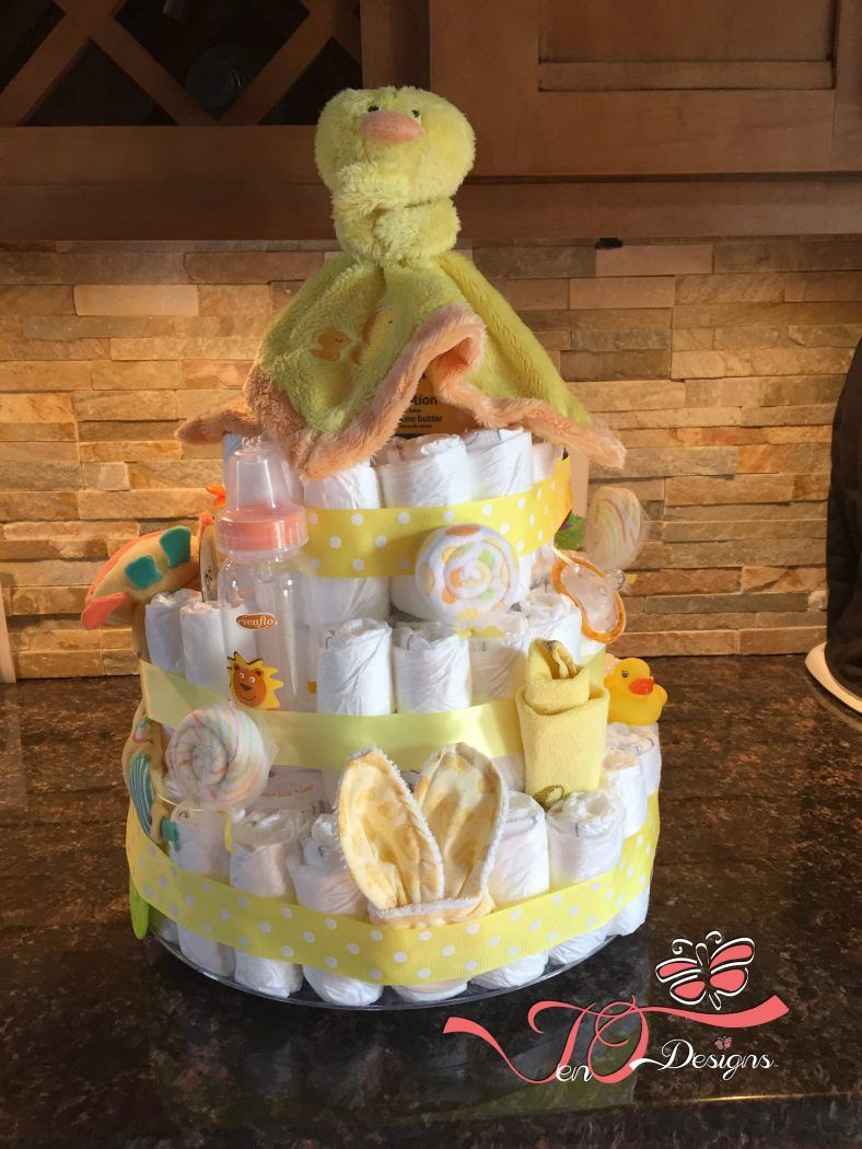 Diaper cake 3tier gender neutral by jenodesigns with