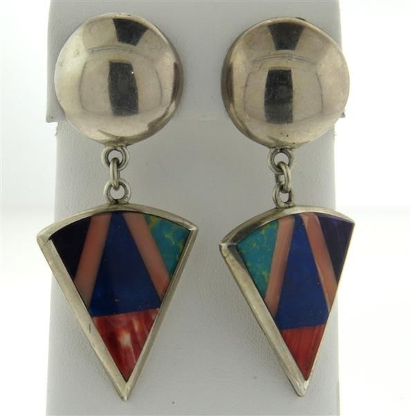 Native American Lynol Yellowhorse Navajo Coral Sugilite Earrings Featured in our upcoming auction on September 13!