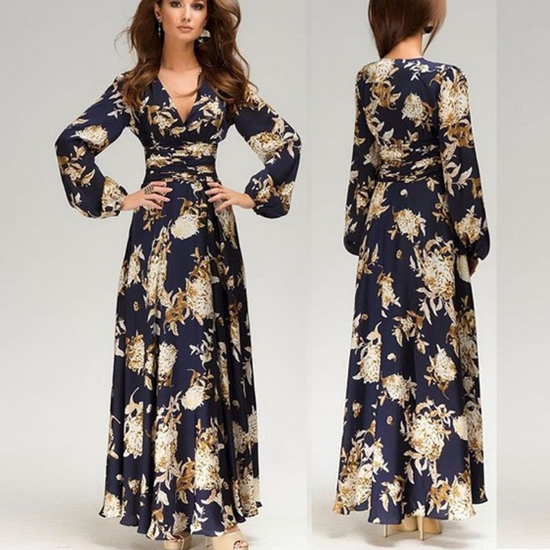 Vintage Women's Long Sleeve Floral Cocktail Party Evening Formal Gown Long Dress #Unbranded #BallGown #Clubwear