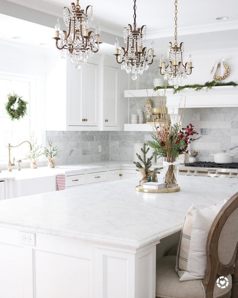 3 Crystal Chandelier Pendants Above White Kitchen Island White Marble Kitchen Marble Kitchen Island Kitchen Marble