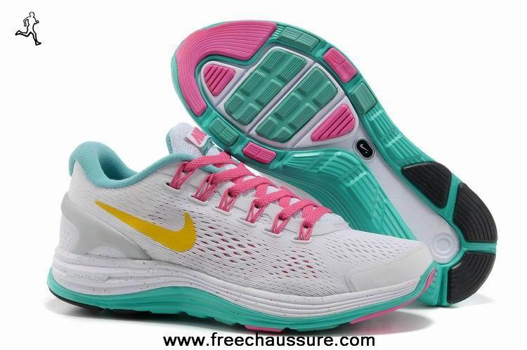 1a232815cd79 nike lunarglide 4 blanc jade jaune 580422-173 femmes chaussures magasin