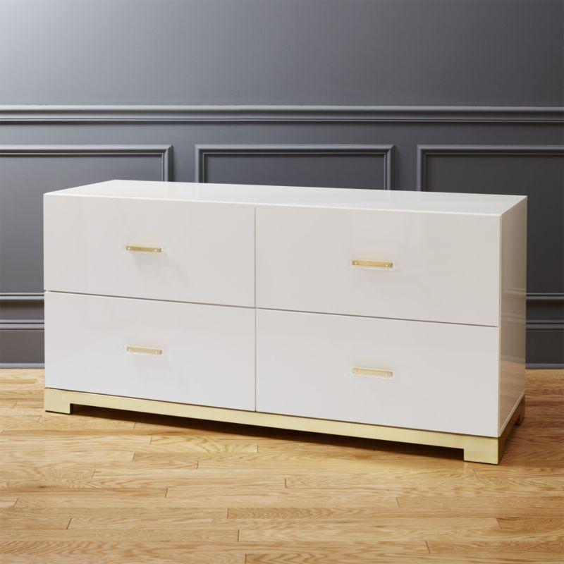 Modern Style Dresser: Shop Odessa Low White Gloss Dresser. Designed By Mark