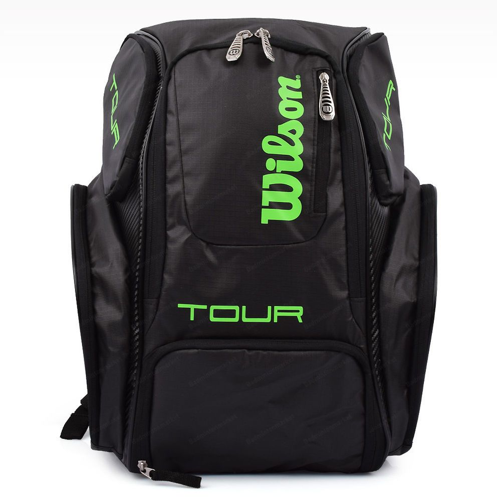 Wilson Tour V Backpack Medium Tennis Badminton Bag Racquet Black Lime Wrz 845596 Badminton Bag Tennis Bag Tennis Racket Bag