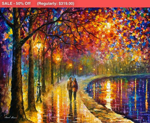 """Spirits By The Lake - Modern Bedroom Wall Art Landscape Oil Painting On Canvas By Leonid Afremov. Size: 40"""" X 30"""" Inches (100 cm x 75 cm)"""