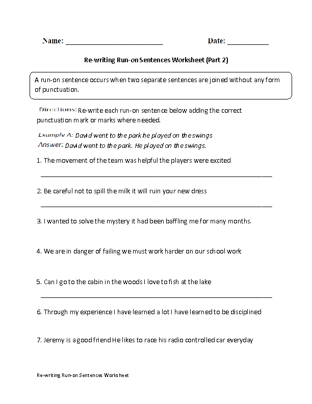 Re-Writing Run-on Sentences Worksheet Part 2 | Englishlinx.com ...