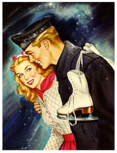 Vintage winter sweethearts. 1940s  by  Jon Whitcomb