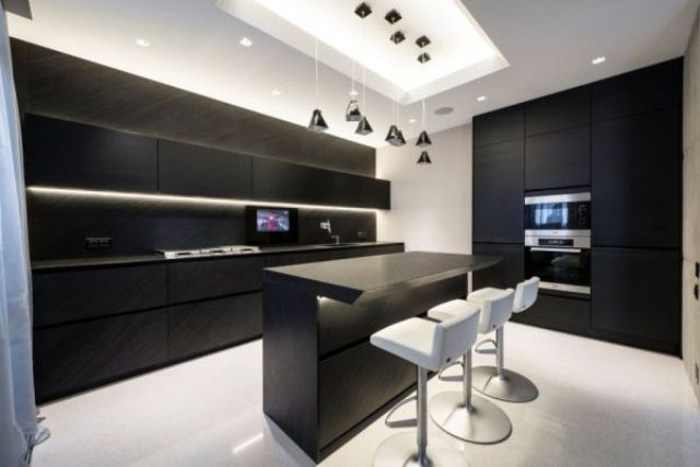 Apartment : Apartment Room Design With White Bar Chairs Pendant Lamps Kitchen Island Kitchen Set Led Tv Stainless Faucet Design Inspiration Adorable Apartment With Eye Catching Details Apartment Design. Kitchen Island. Tv Buffets.