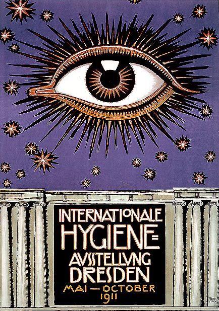 publicdomainthing: Poster for International Hygiene Show Franz Stuck, Dresden 1911 Vintage Printables