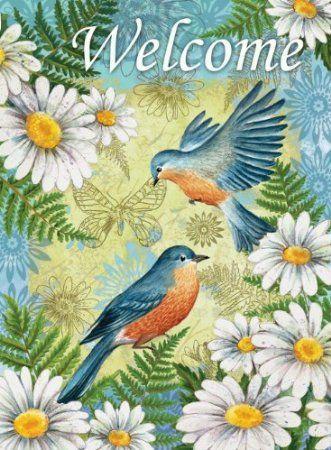 Amazon Com Toland Home Garden 102581 Bluebirds And Daisies Decorative House Flag 28 By 40 Inch Patio Lawn Garden Blue Bird Bird Art Art