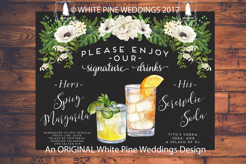 Wedding Signature Drinks.Wedding Signature Drink Sign Wedding Bar Menu Bar Sign Beach