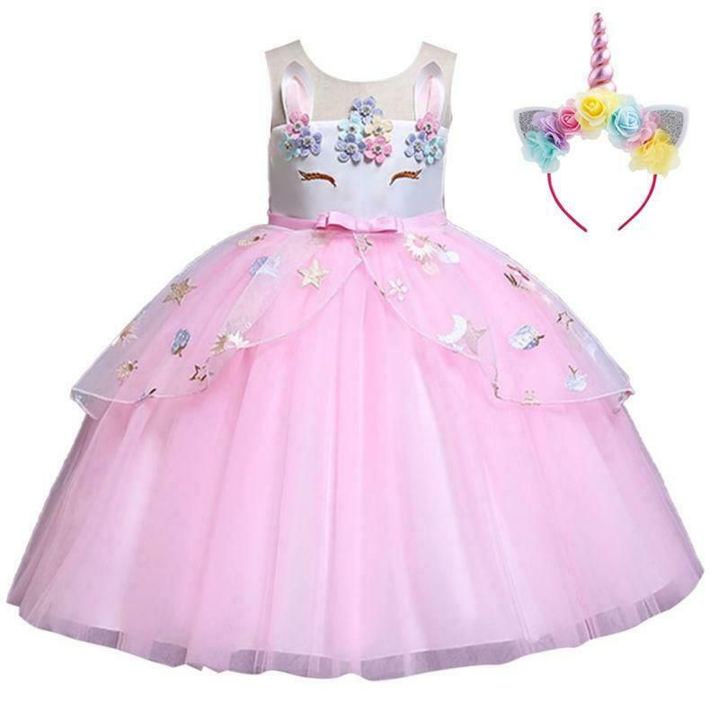 Princess Girls Unicorn Flower Dress Kids Tutu Gown Wedding Party Cosplay Costume