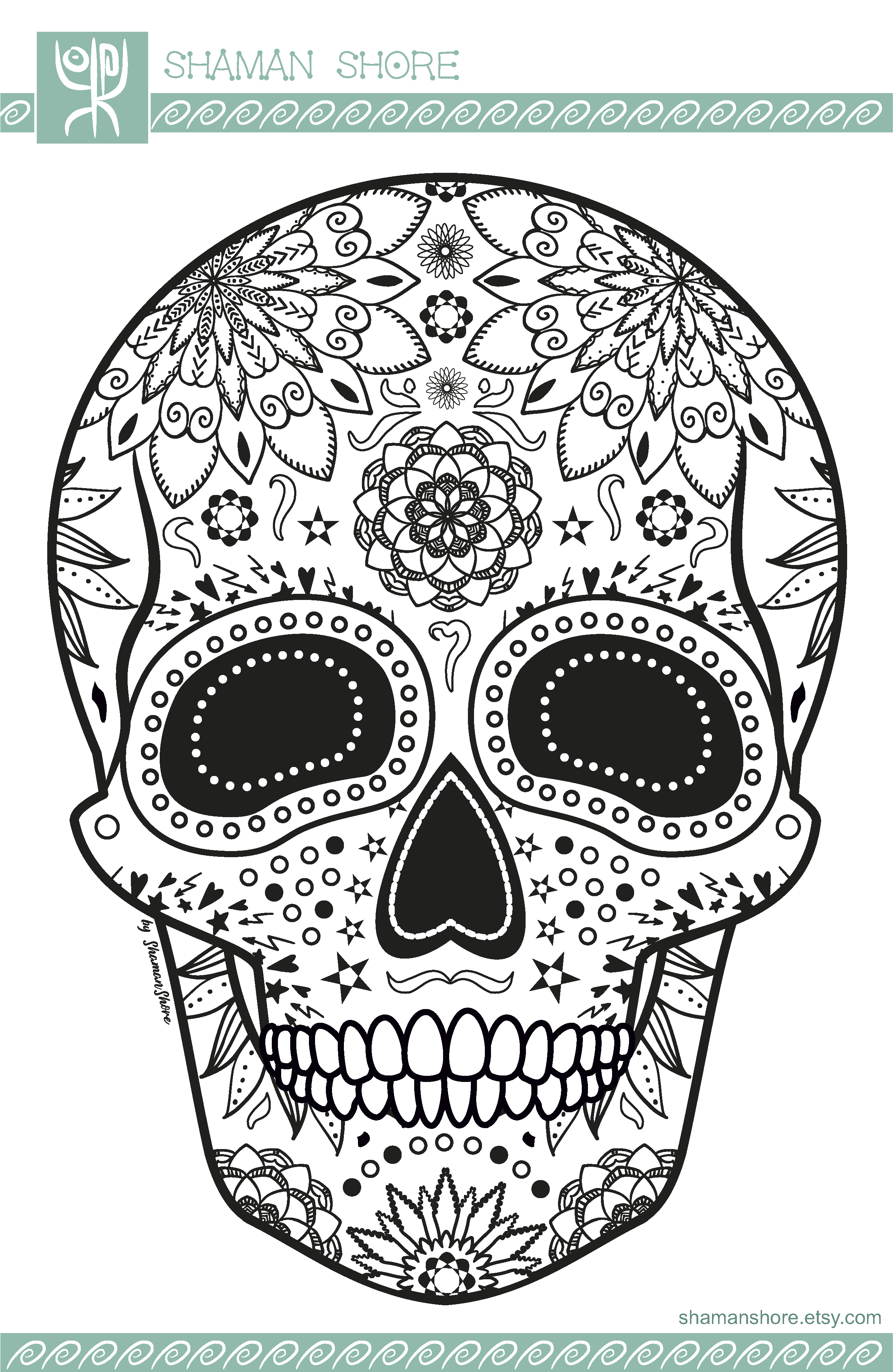 Skull Adult Coloring Book Printable, 15 Sugar Skull Coloring Pages ...