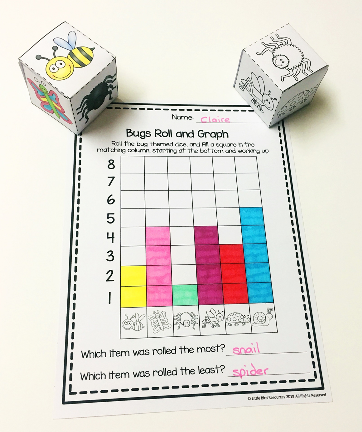 Bugs Roll Amp Graph Activity And Count Amp Graph Worksheets