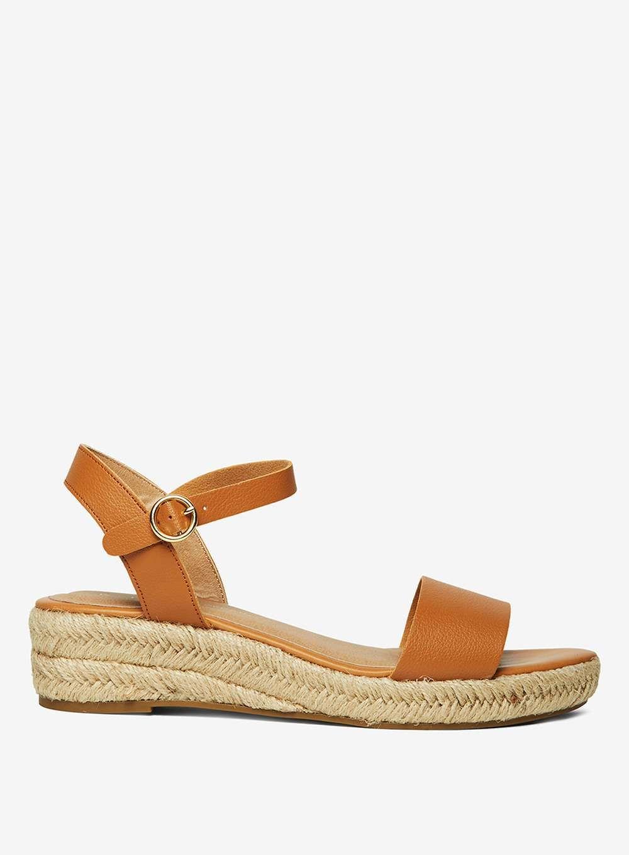 8f8e1e9a68f Tan 'Riana' Wedge Sandals   Products   Wedge sandals, Brown wedge ...