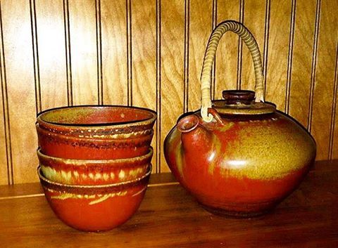 Takaezu Tea Pot with glaze