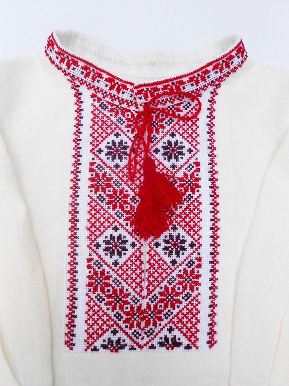Ukrainian hand embroidered white shirt for boys 2-3years Ethnic cross  stitch red embroidery Slavic c b7acc7626