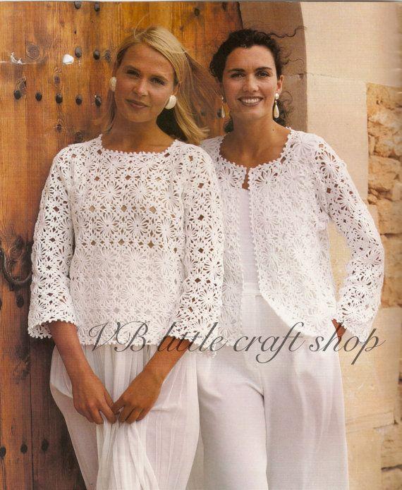 Womens CROCHET PATTERN Ladies Crochet Jacket Gilet Sweater