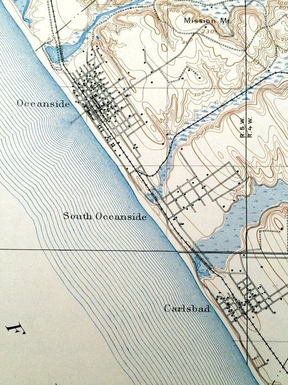 Antique Oceanside, California 1901 US Geological Survey ...