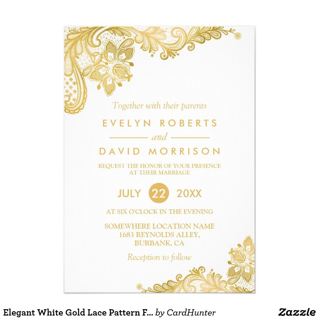 Elegant White Gold Lace Pattern Formal Wedding Invitation  Zazzle