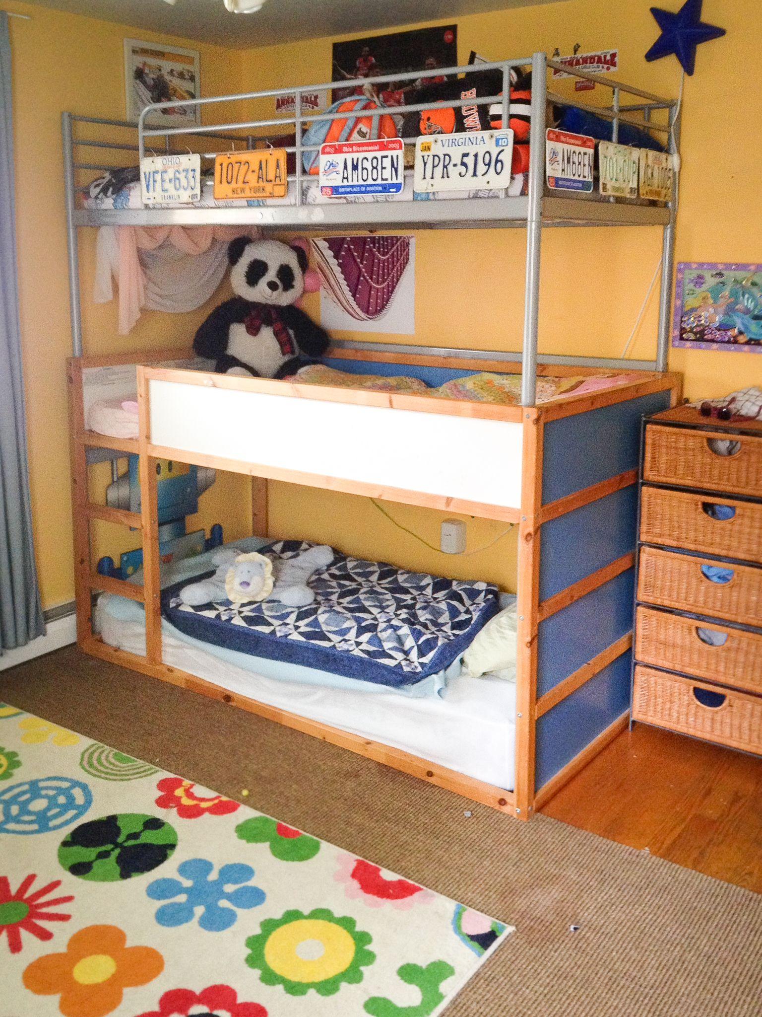 triple bunk bed – ikea (sorta) hack | bunk bed, spaces and triple