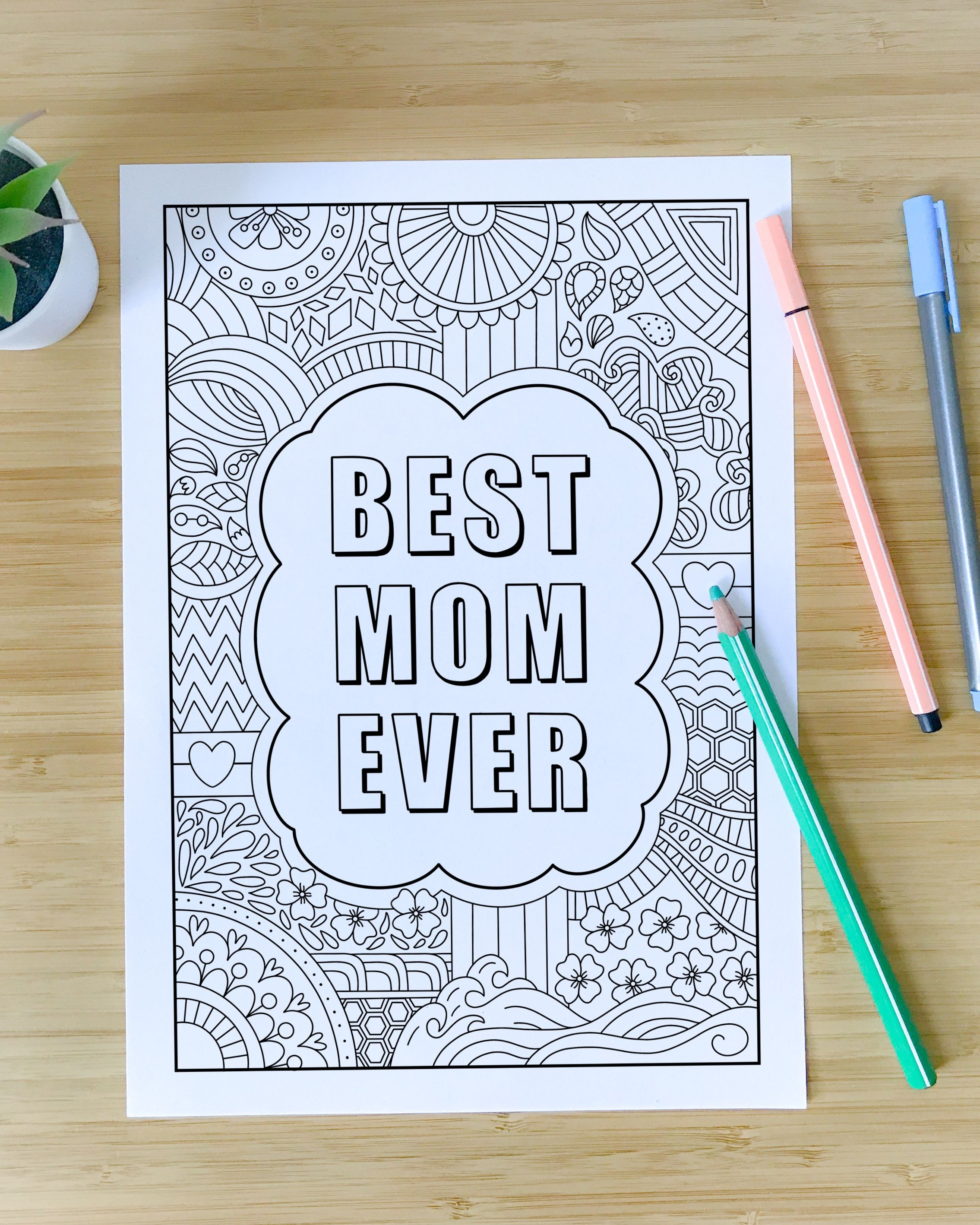 Best Mom Ever Coloring Pages Zentangle Affirmation Mother S Day Gift Printable Pdf Instant Download Diy Gift Coloring Pages Mandala Coloring Pages Best Mom