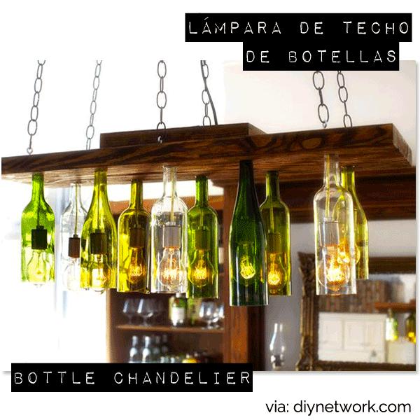 Diy l mpara de techo con botellas de cristal diy - Como hacer una lampara de techo moderna ...