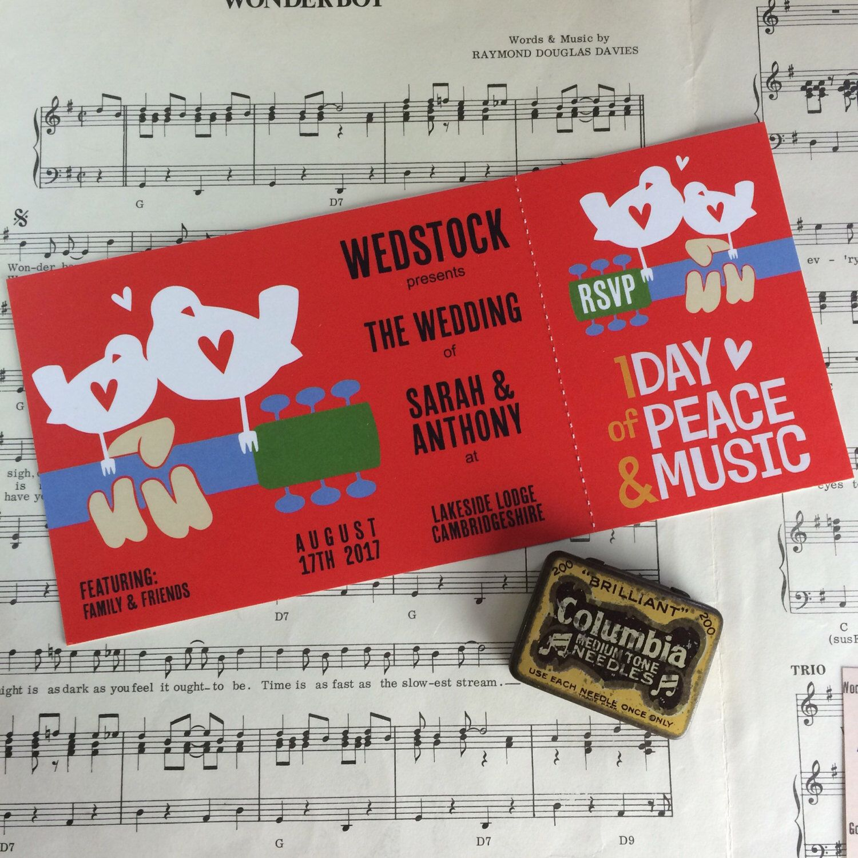 Wedding/ Party Invitations - Woodstock Festival Ticket Design x 40 ...