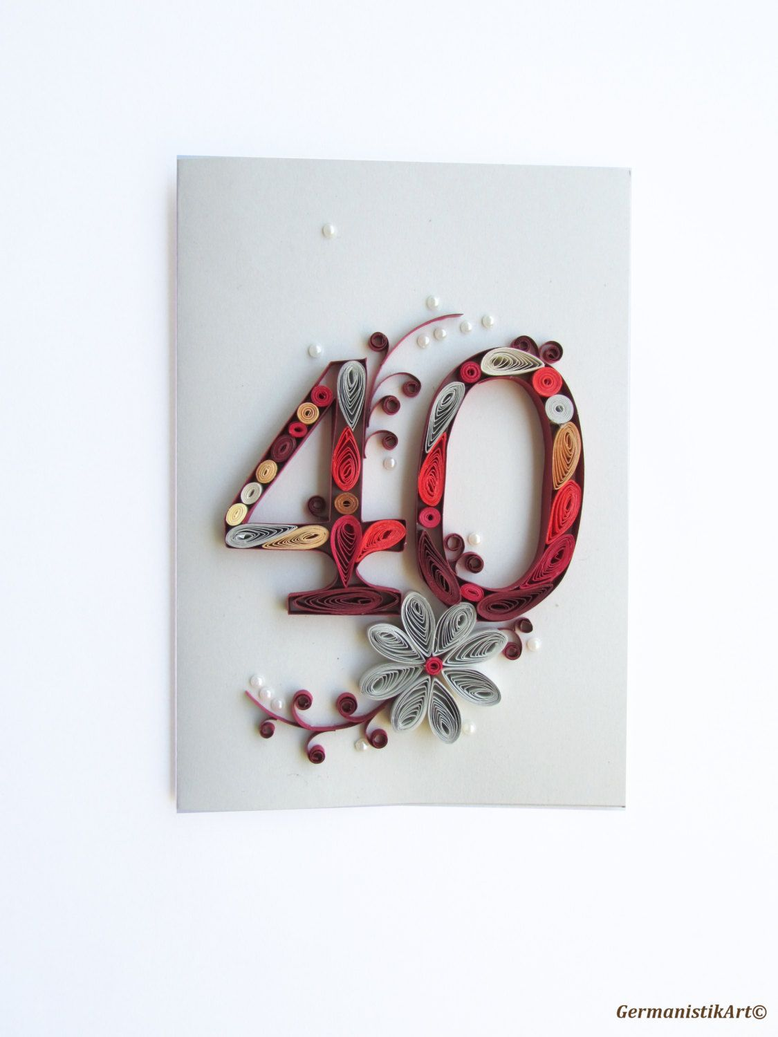 Happy 40th Birthday Card Personalised Quilling Wedding Anniversary Card Blank 40th Birthday Card Number Card 40th Birthday Cards Wedding Anniversary Cards 40th Birthday Gifts