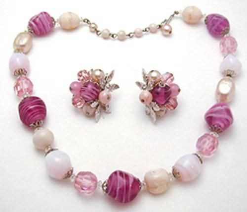 Coro Glass Beads Necklace Set - Garden Party Collection Vintage Jewelry